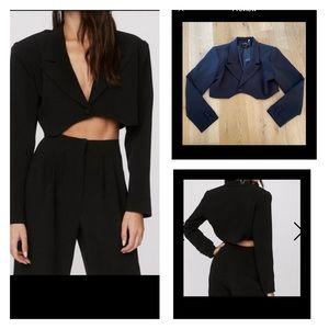 Nasty Gal Boxy Cropped Tailored Blazer Black 6